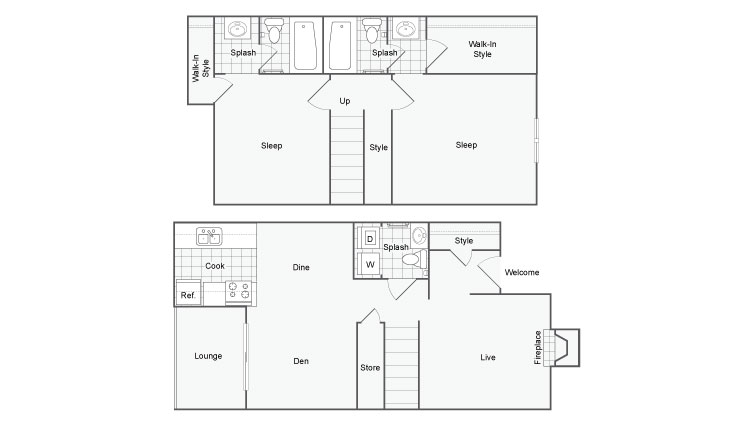 1,174 sq. ft. Luxor floor plan