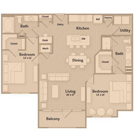 1,177 sq. ft. floor plan