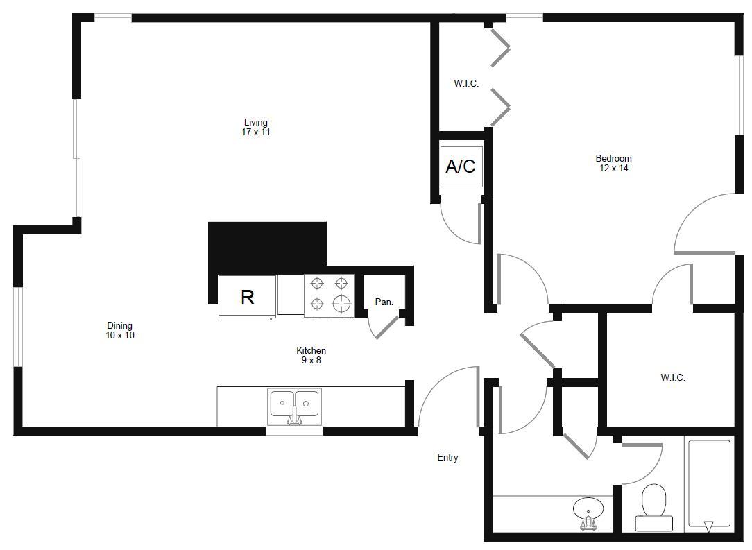 815 sq. ft. A5 floor plan