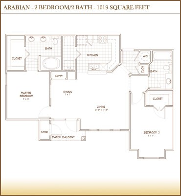 1,019 sq. ft. Arabian floor plan