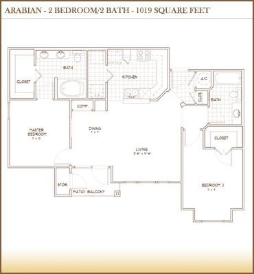 1,019 sq. ft. ARABIAN floor plan