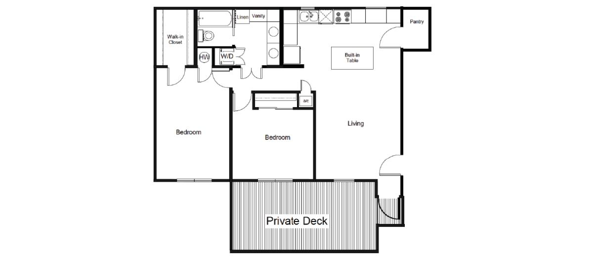 921 sq. ft. B5 floor plan