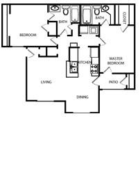 1,002 sq. ft. C floor plan