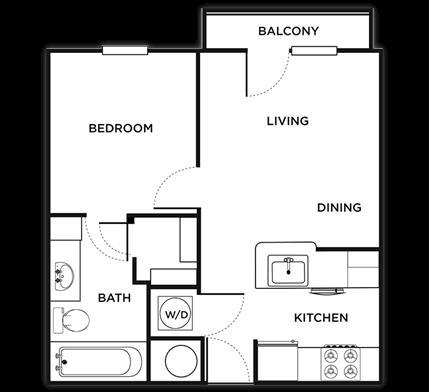 529 sq. ft. Padova floor plan