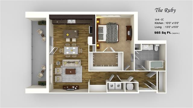 985 sq. ft. 1C floor plan