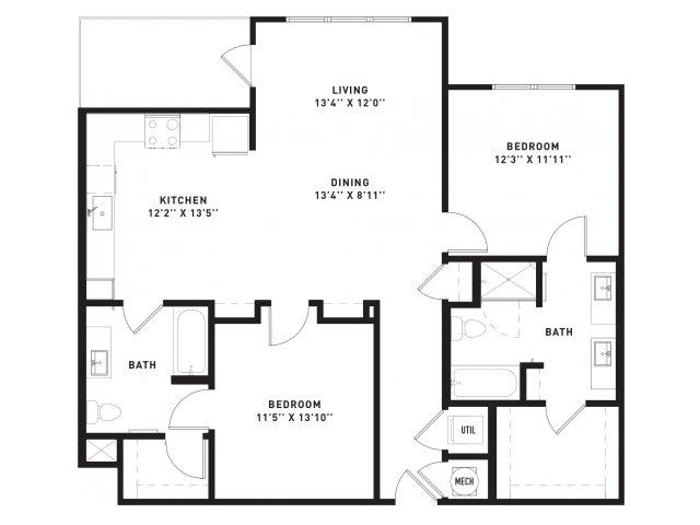 1,209 sq. ft. B9 floor plan