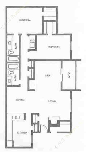 1,338 sq. ft. floor plan