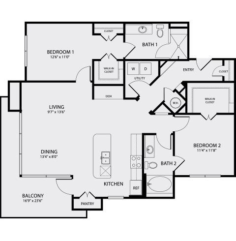 1,248 sq. ft. B1 floor plan