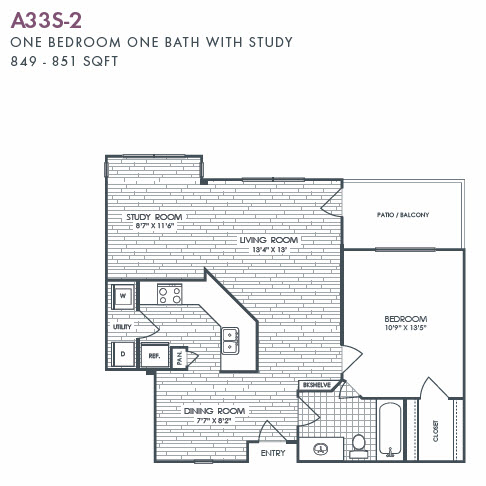 849 sq. ft. to 851 sq. ft. A33S-2 floor plan