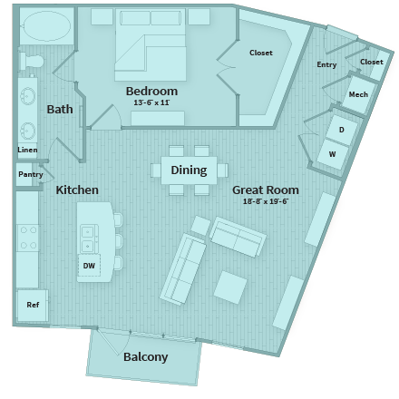 938 sq. ft. floor plan