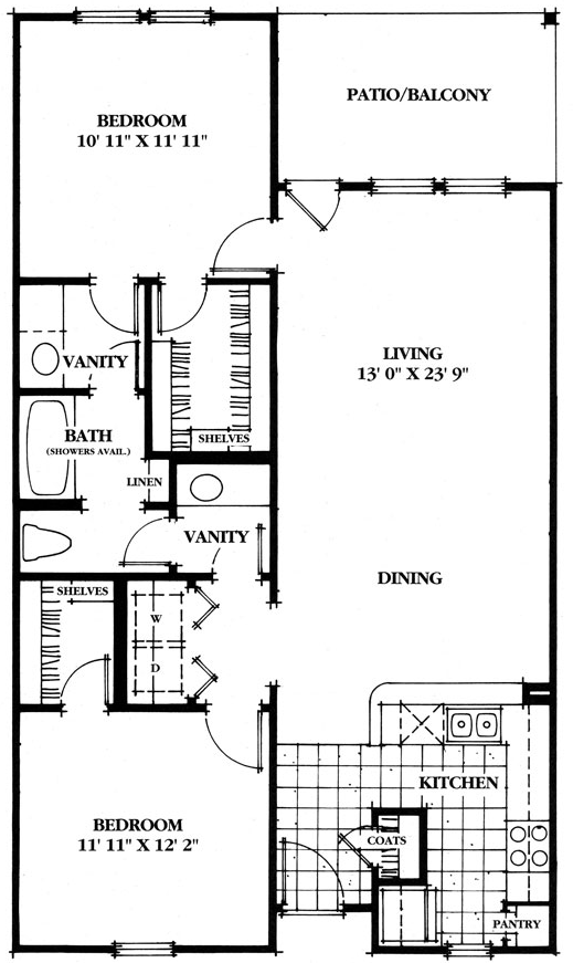 1,055 sq. ft. Olmos floor plan
