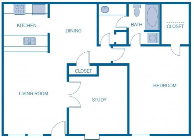 962 sq. ft. 1D floor plan