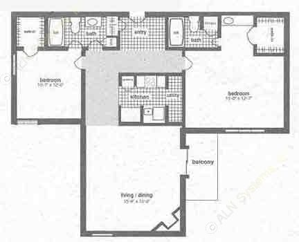 1,055 sq. ft. B-1 floor plan