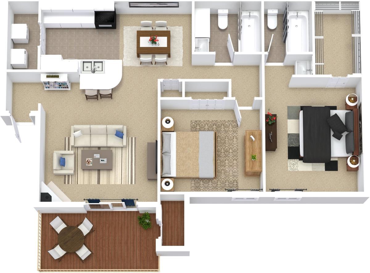 858 sq. ft. B1 floor plan