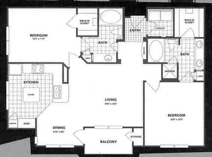 1,216 sq. ft. B4P floor plan
