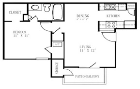 531 sq. ft. A1 floor plan