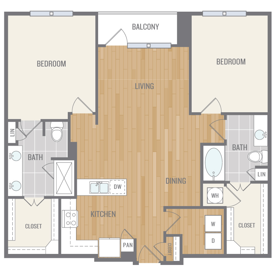 1,282 sq. ft. B5 floor plan