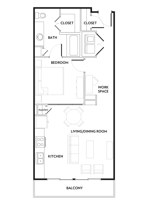 755 sq. ft. A5 floor plan