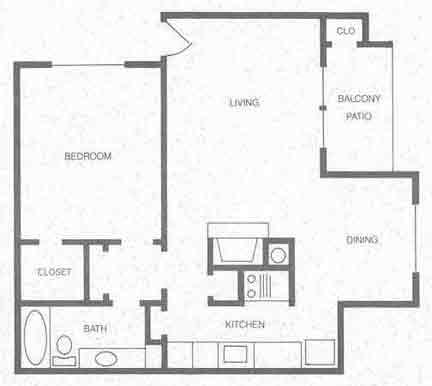 708 sq. ft. A2 floor plan