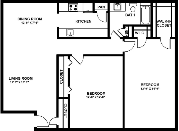 991 sq. ft. Ruby floor plan