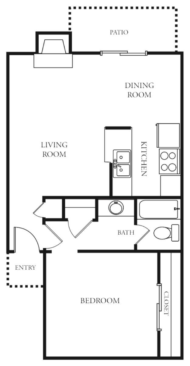 661 sq. ft. Innsbrook floor plan
