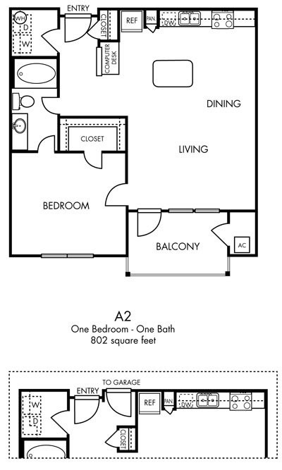 802 sq. ft. Panache floor plan