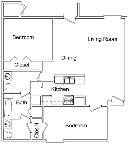 886 sq. ft. B2 floor plan