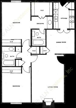 1,000 sq. ft. B-5 floor plan