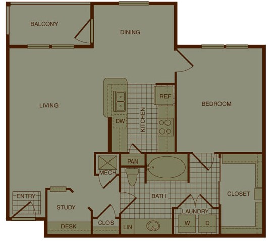 886 sq. ft. A4 floor plan