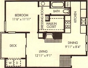 659 sq. ft. Redbud floor plan