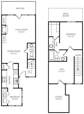 1,153 sq. ft. Whitestone floor plan