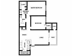 823 sq. ft. B1 floor plan