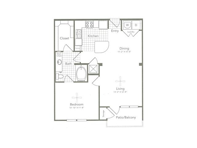 784 sq. ft. A3 East floor plan