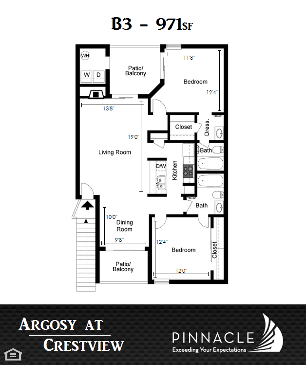 971 sq. ft. B3 floor plan