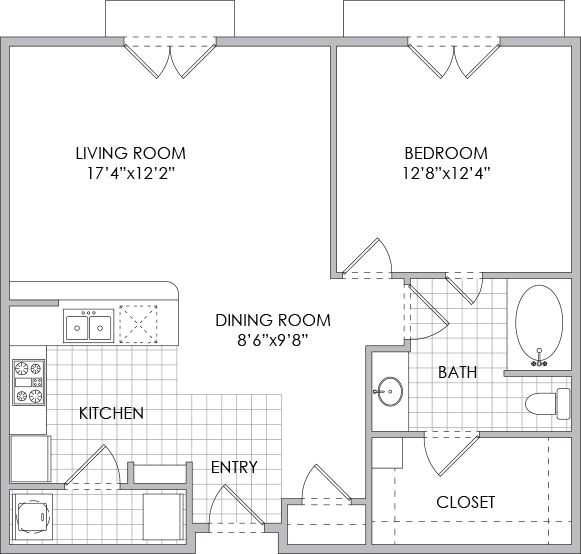 862 sq. ft. A5 floor plan
