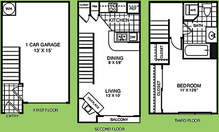 592 sq. ft. A1A floor plan