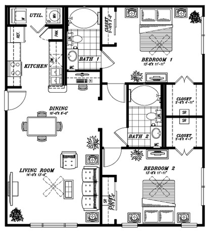 1,108 sq. ft. B2A floor plan
