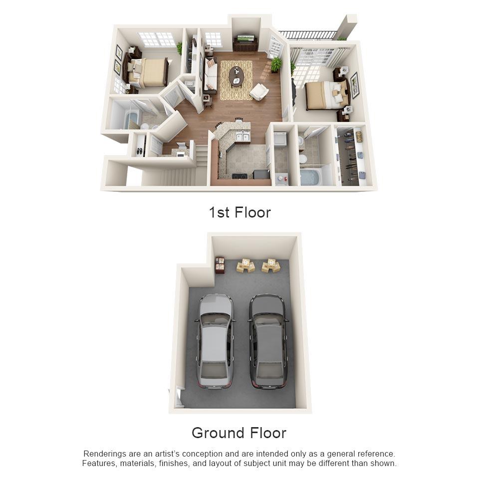 985 sq. ft. Cabernet floor plan