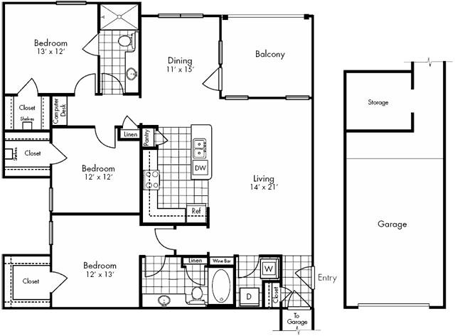 1,529 sq. ft. Washington floor plan