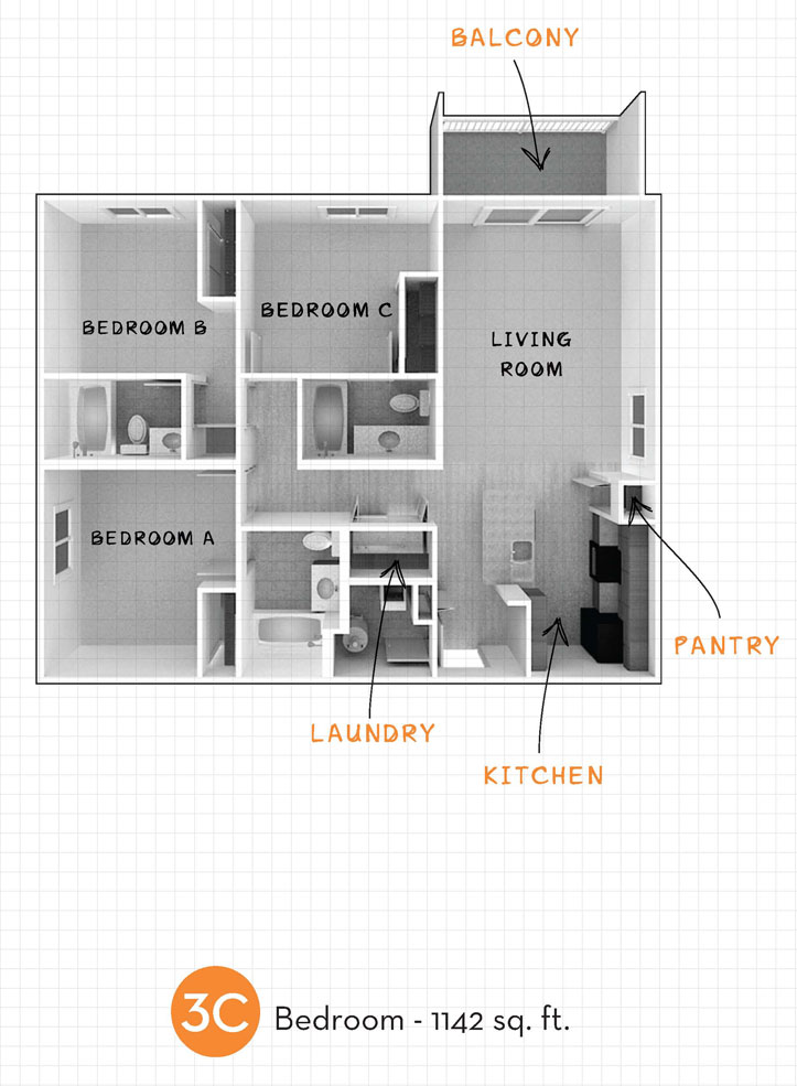 1,142 sq. ft. 3C floor plan