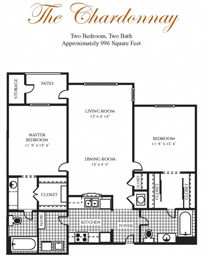 996 sq. ft. Chardonnay floor plan