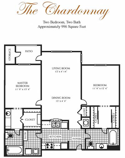996 sq. ft. CHARDONNAY floor plan
