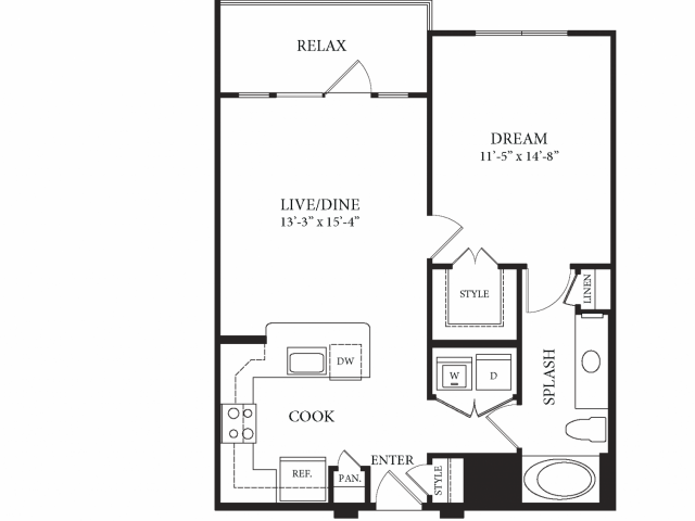 751 sq. ft. Louvre floor plan