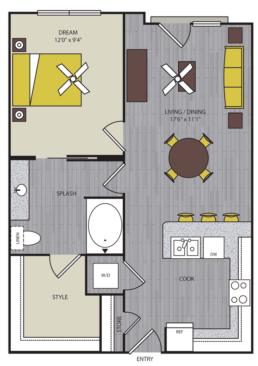 609 sq. ft. to 658 sq. ft. A7 floor plan