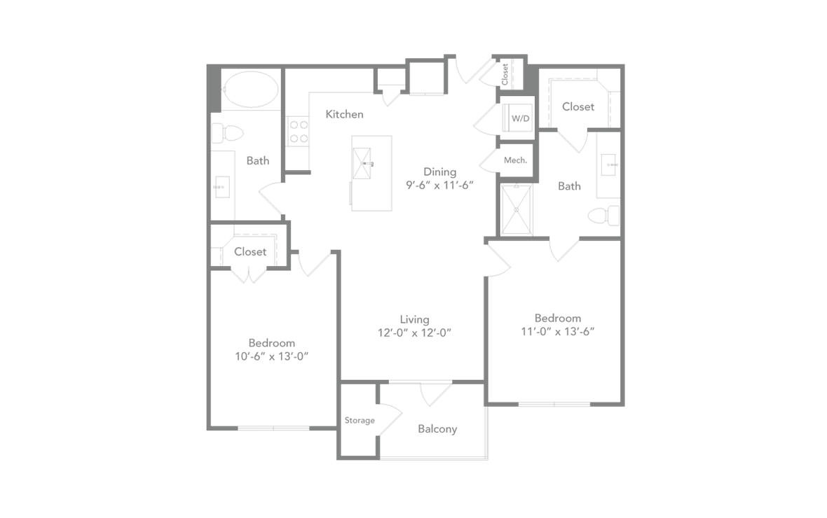 1,009 sq. ft. B1 floor plan