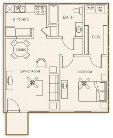 715 sq. ft. 50% floor plan