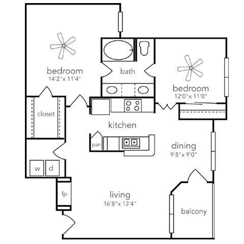 938 sq. ft. Llano floor plan