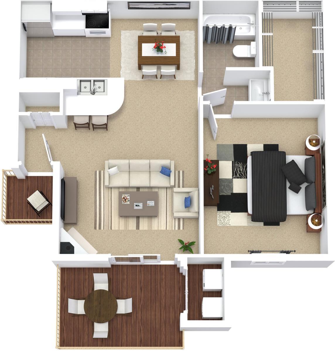614 sq. ft. A2 floor plan