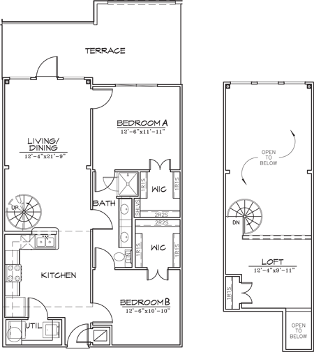 1,118 sq. ft. floor plan