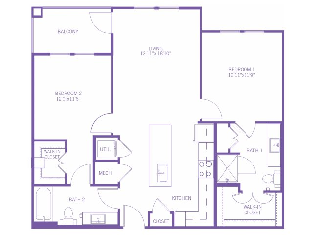 1,020 sq. ft. B1 floor plan
